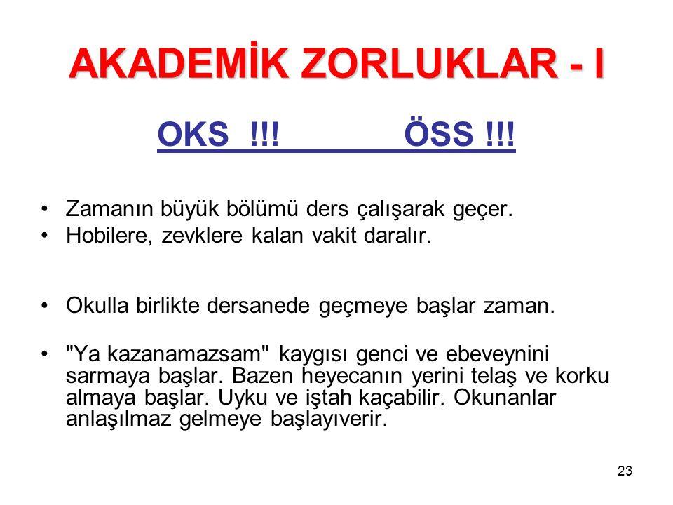 AKADEMİK ZORLUKLAR - I OKS !!! ÖSS !!!