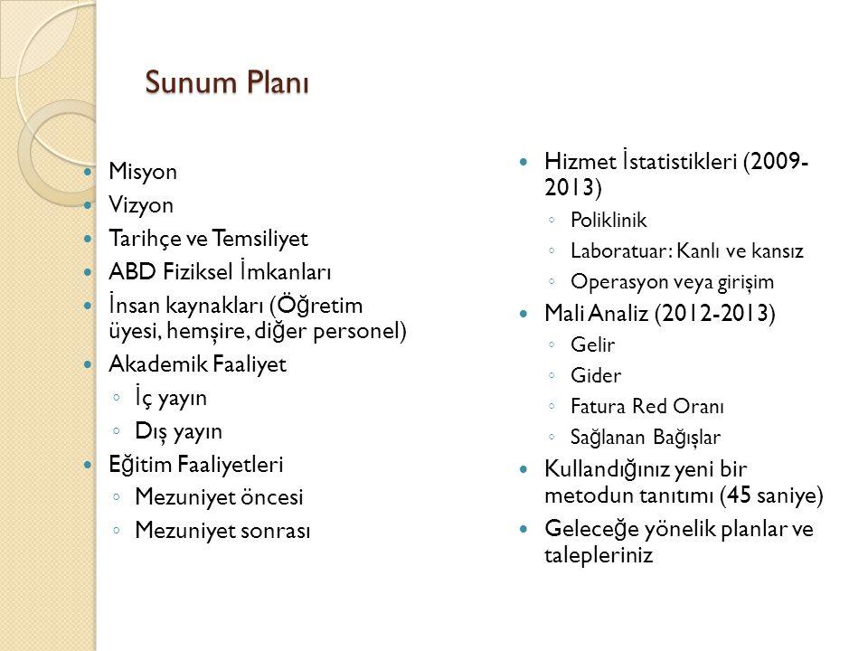 Sunum Planı Hizmet İstatistikleri (2009- 2013) Misyon Vizyon