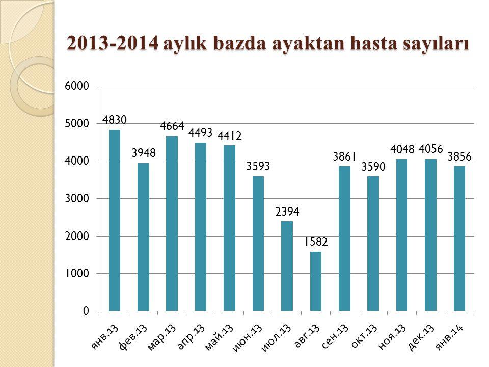2013-2014 aylık bazda ayaktan hasta sayıları