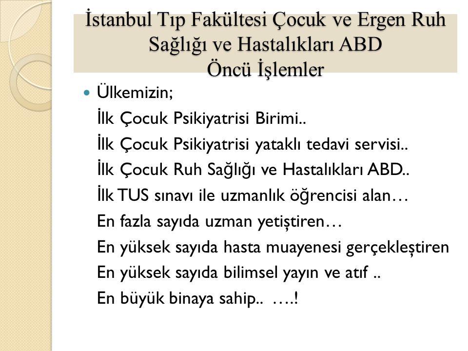 İstanbul Tıp Fakültesi Çocuk ve Ergen Ruh Sağlığı ve Hastalıkları ABD Öncü İşlemler