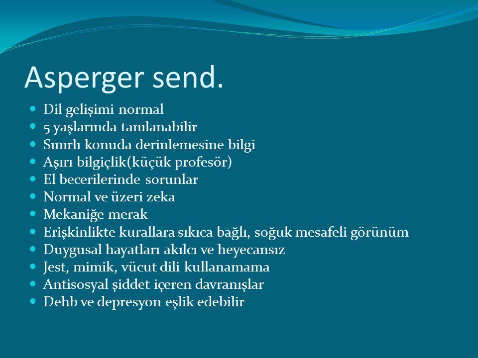 Asperger send. Dil gelişimi normal 5 yaşlarında tanılanabilir