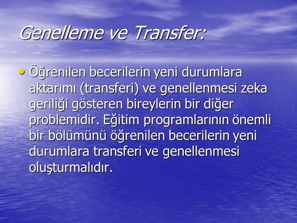 Genelleme ve Transfer: