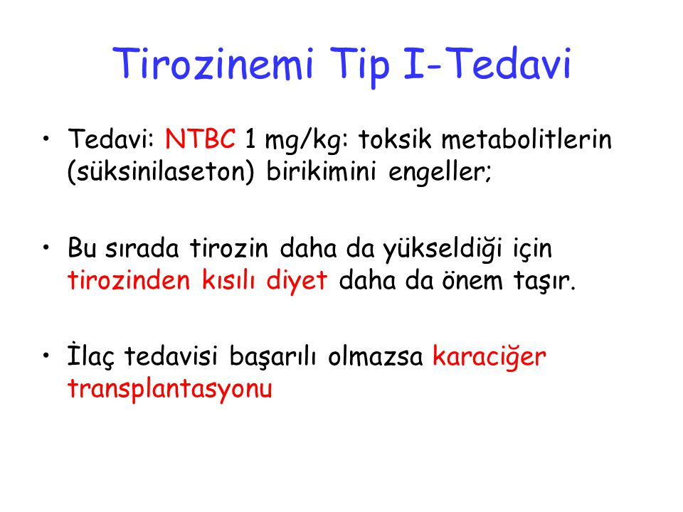 Tirozinemi Tip I-Tedavi