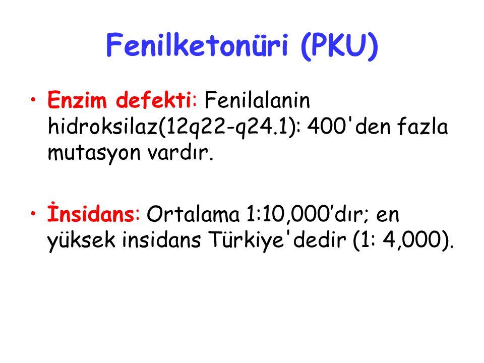 Fenilketonüri (PKU) Enzim defekti: Fenilalanin hidroksilaz(12q22-q24.1): 400 den fazla mutasyon vardır.