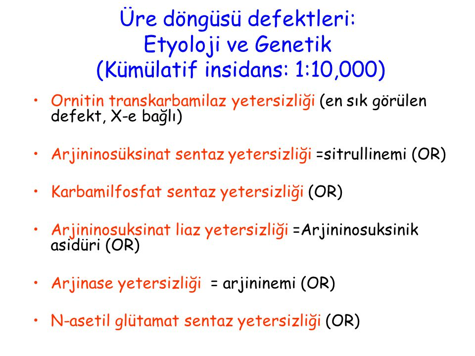 Üre döngüsü defektleri: Etyoloji ve Genetik (Kümülatif insidans: 1:10,000)
