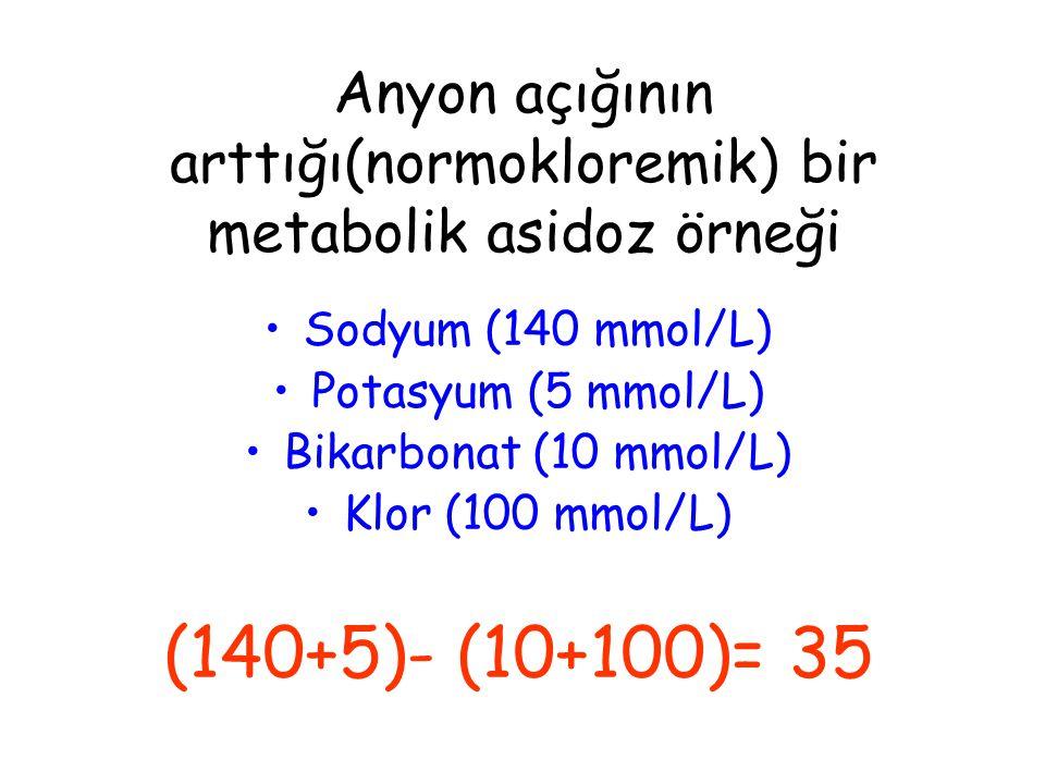 Anyon açığının arttığı(normokloremik) bir metabolik asidoz örneği