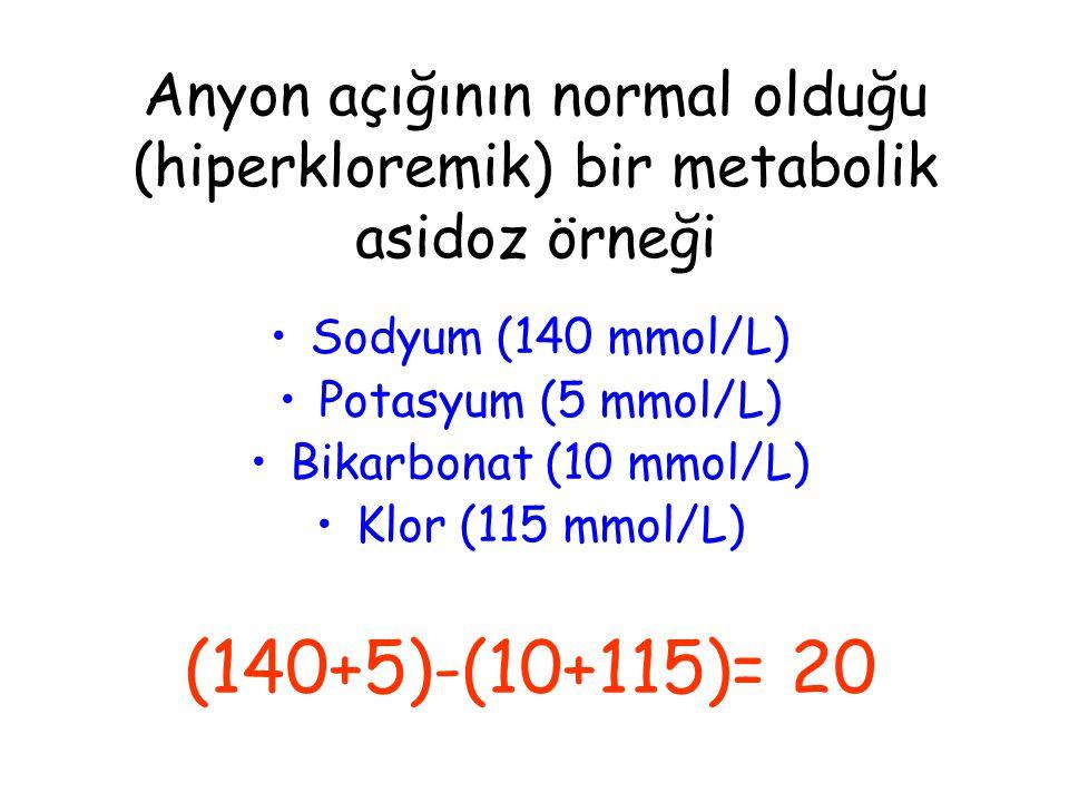Anyon açığının normal olduğu (hiperkloremik) bir metabolik asidoz örneği