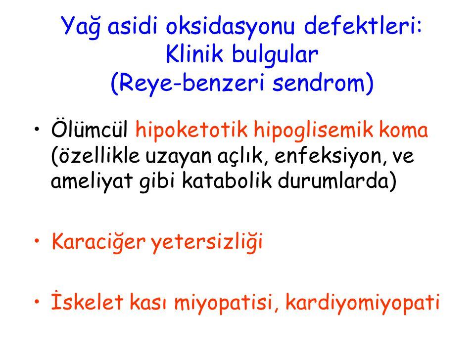 Yağ asidi oksidasyonu defektleri: Klinik bulgular (Reye-benzeri sendrom)