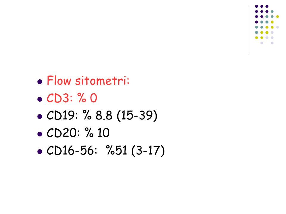 Flow sitometri: CD3: % 0 CD19: % 8.8 (15-39) CD20: % 10 CD16-56: %51 (3-17)