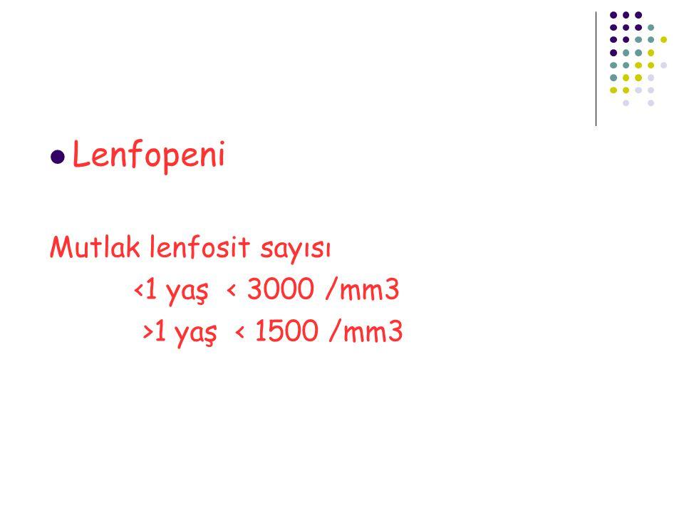 Lenfopeni Mutlak lenfosit sayısı <1 yaş < 3000 /mm3