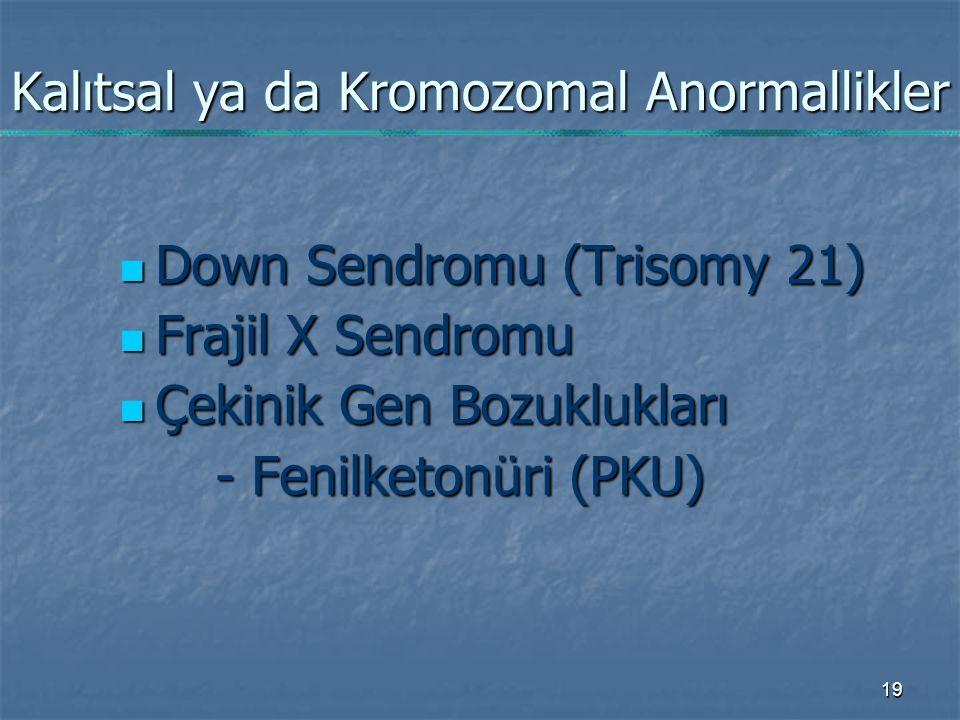 Kalıtsal ya da Kromozomal Anormallikler