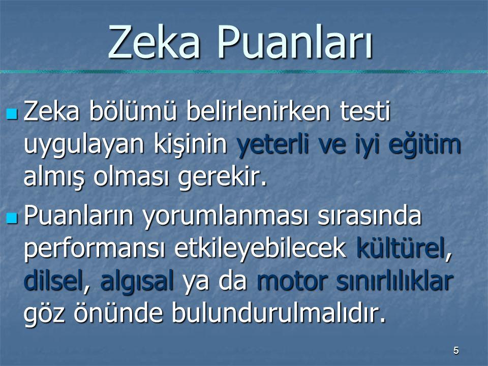 Zeka Puanları Zeka bölümü belirlenirken testi uygulayan kişinin yeterli ve iyi eğitim almış olması gerekir.