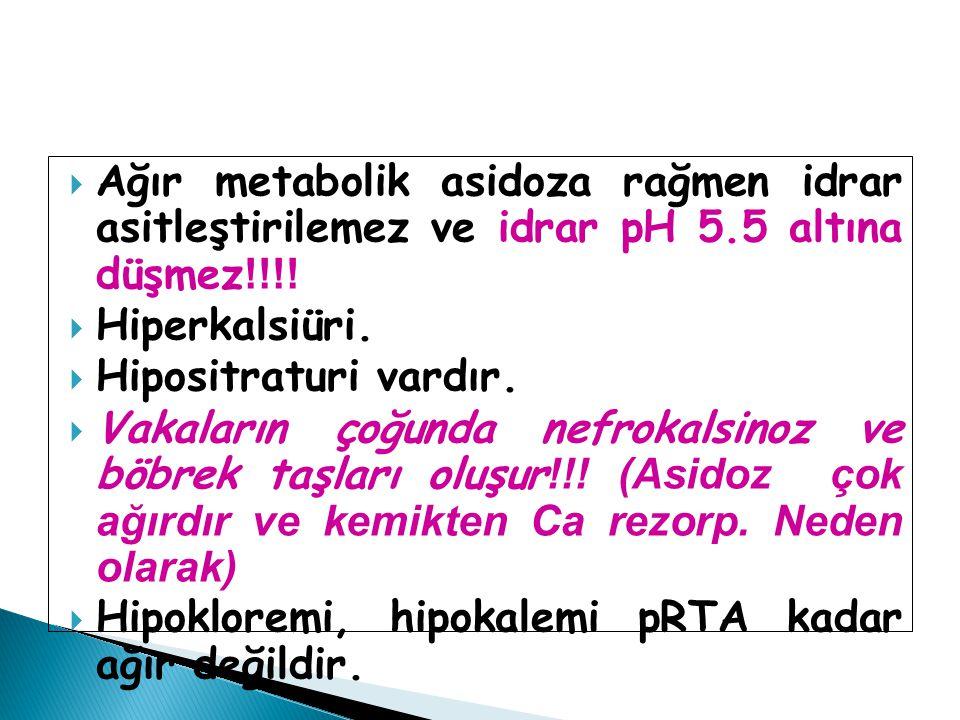 Ağır metabolik asidoza rağmen idrar asitleştirilemez ve idrar pH 5