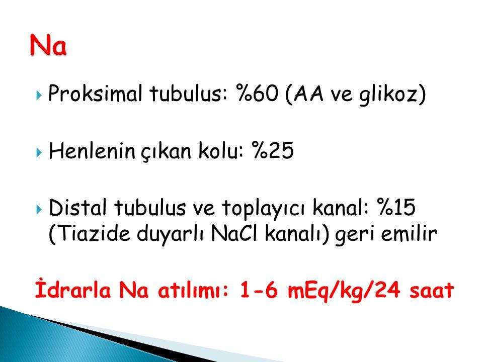 Na Proksimal tubulus: %60 (AA ve glikoz) Henlenin çıkan kolu: %25