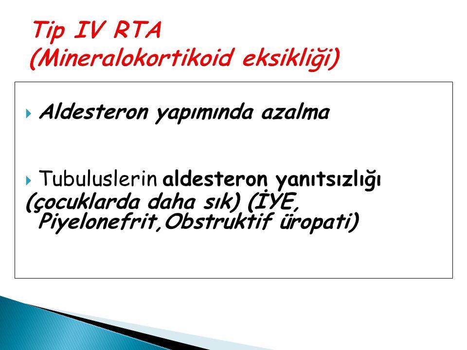 Tip IV RTA (Mineralokortikoid eksikliği)
