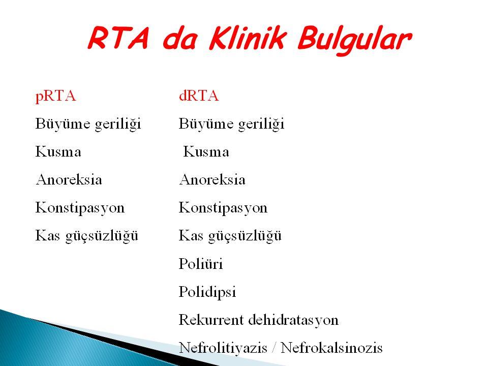 RTA da Klinik Bulgular