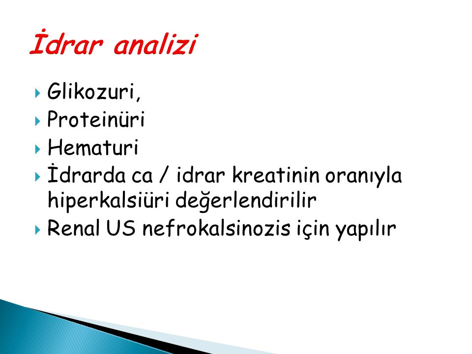 İdrar analizi Glikozuri, Proteinüri Hematuri