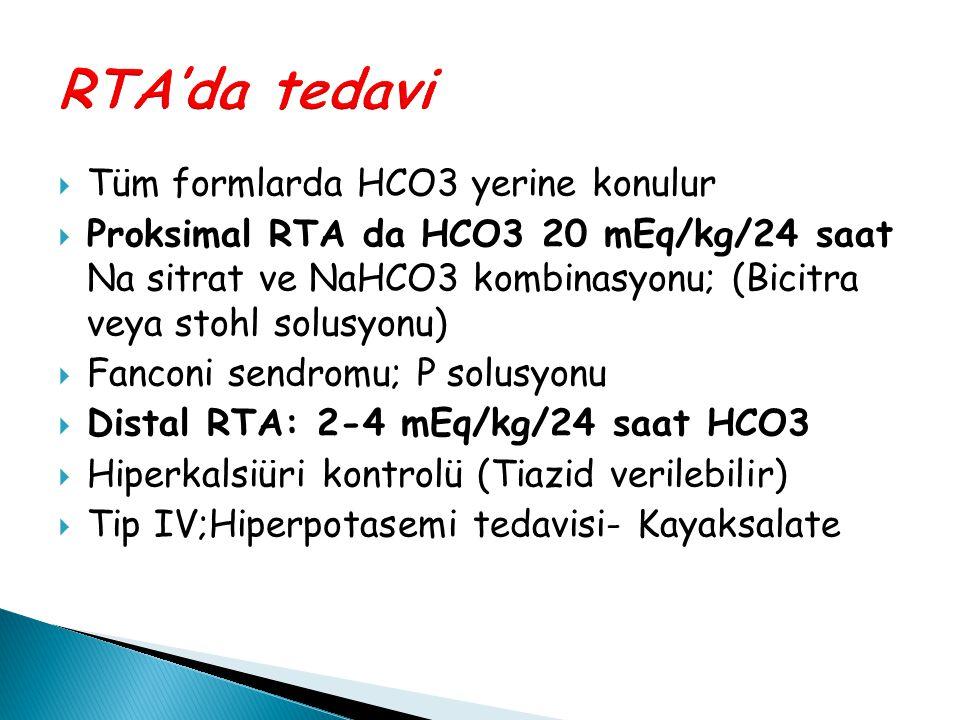 RTA'da tedavi Tüm formlarda HCO3 yerine konulur