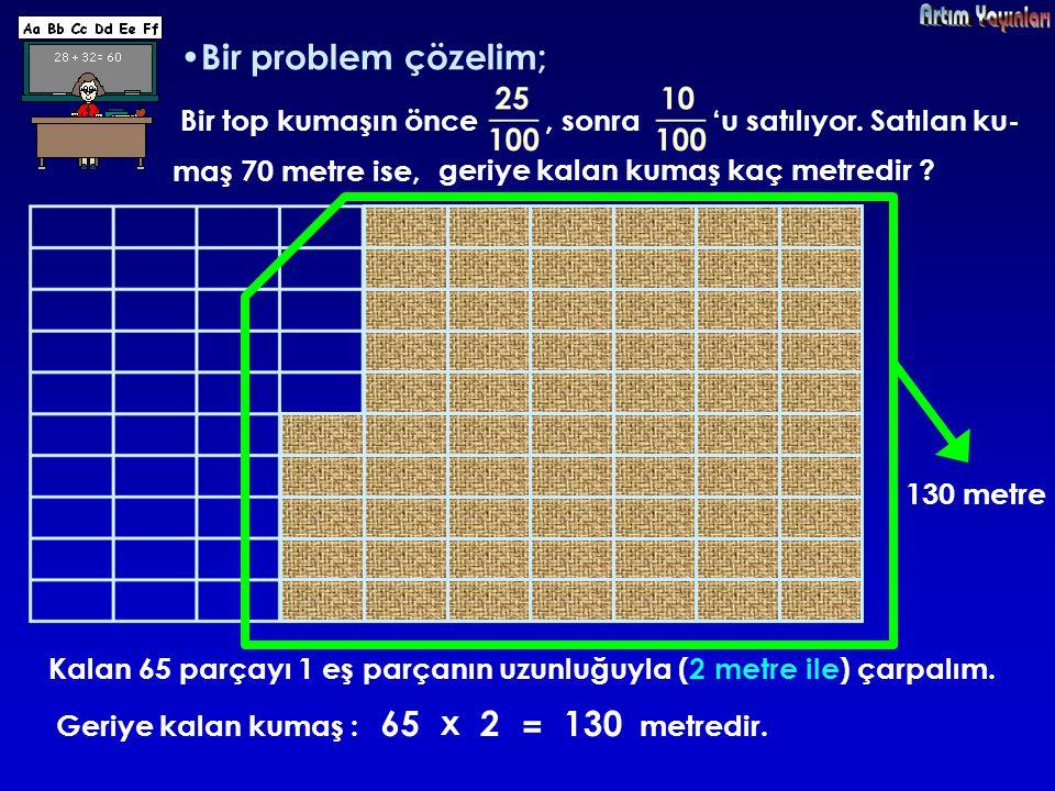 Bir problem çözelim; 65 x 2 = 130 Bir top kumaşın önce , sonra