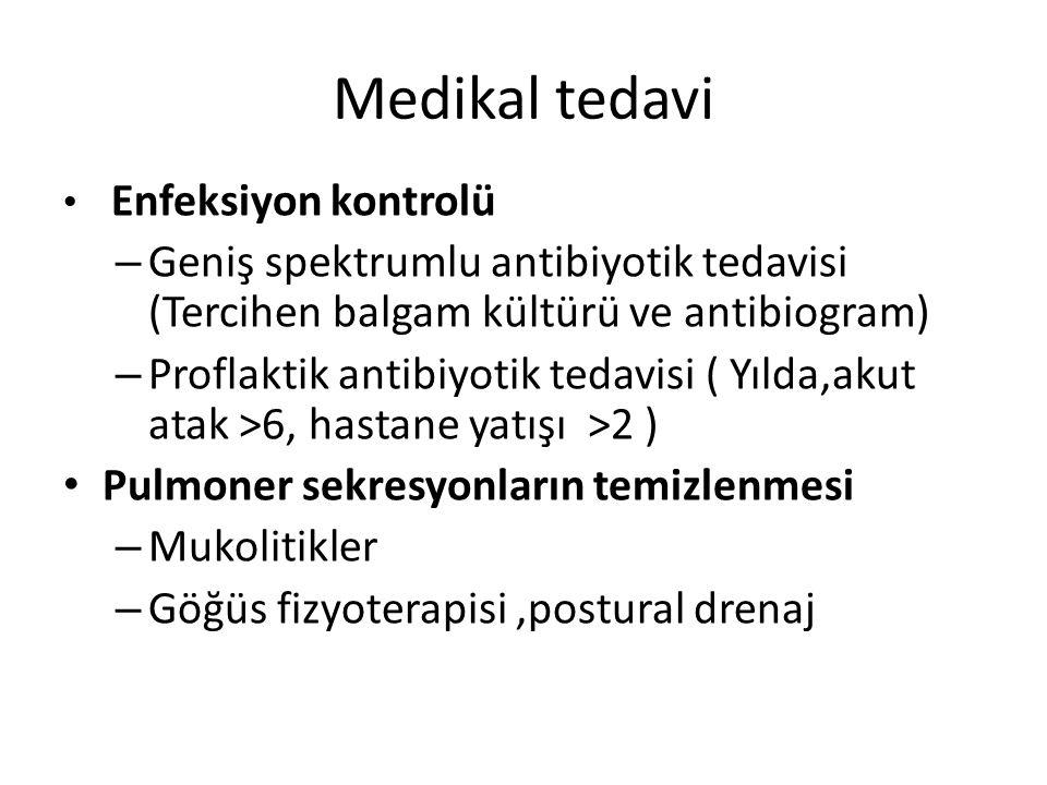 Medikal tedavi Enfeksiyon kontrolü. Geniş spektrumlu antibiyotik tedavisi (Tercihen balgam kültürü ve antibiogram)