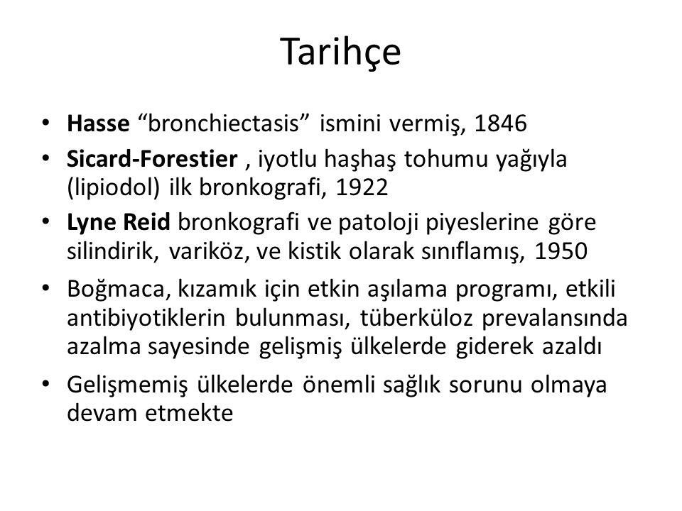 Tarihçe Hasse bronchiectasis ismini vermiş, 1846