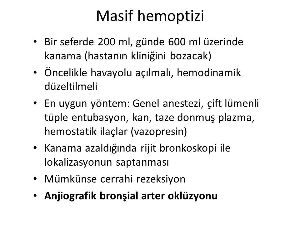 Masif hemoptizi Bir seferde 200 ml, günde 600 ml üzerinde kanama (hastanın kliniğini bozacak)