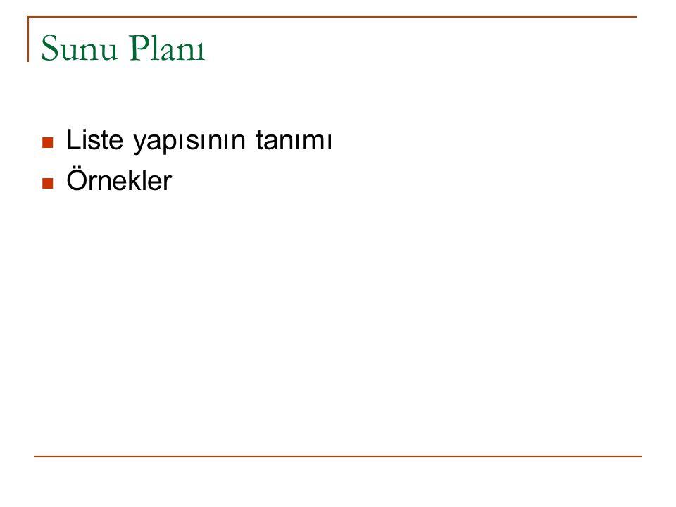 Sunu Planı Liste yapısının tanımı Örnekler