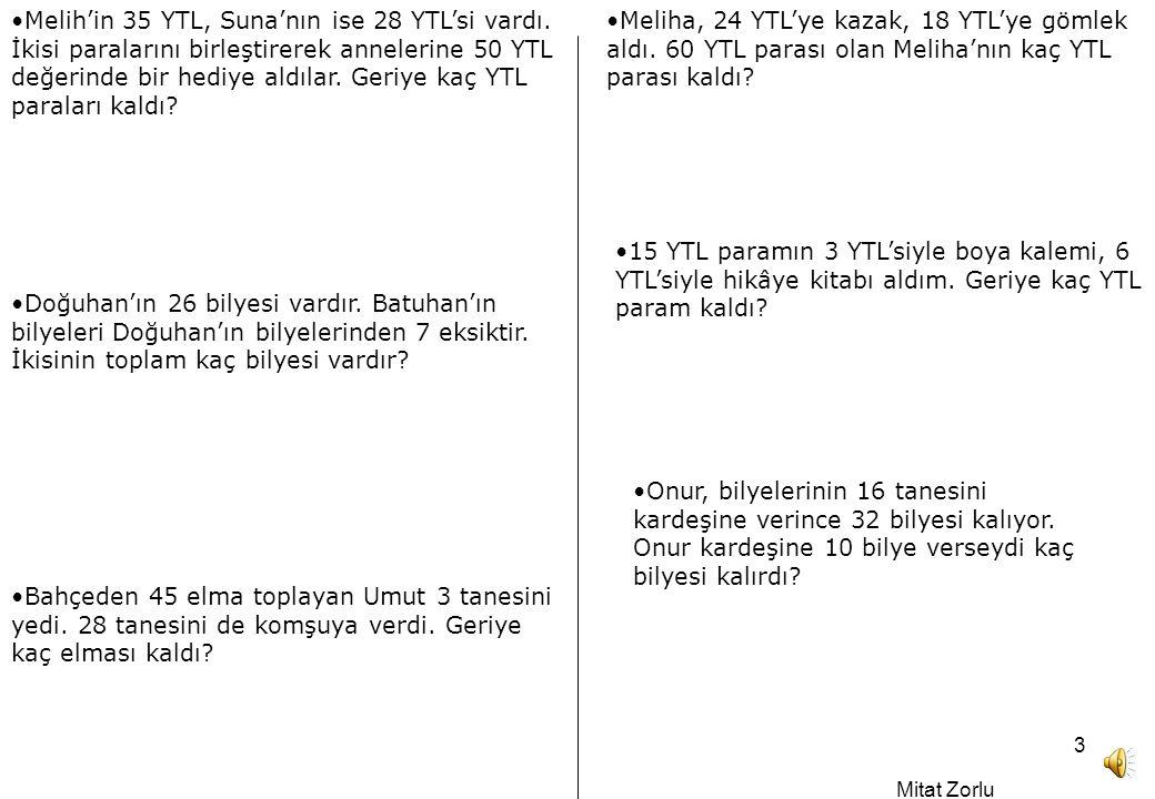 Melih'in 35 YTL, Suna'nın ise 28 YTL'si vardı
