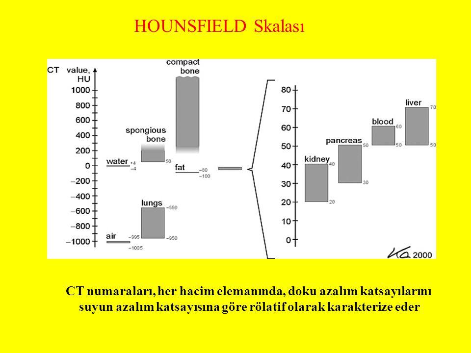 HOUNSFIELD Skalası CT numaraları, her hacim elemanında, doku azalım katsayılarını.