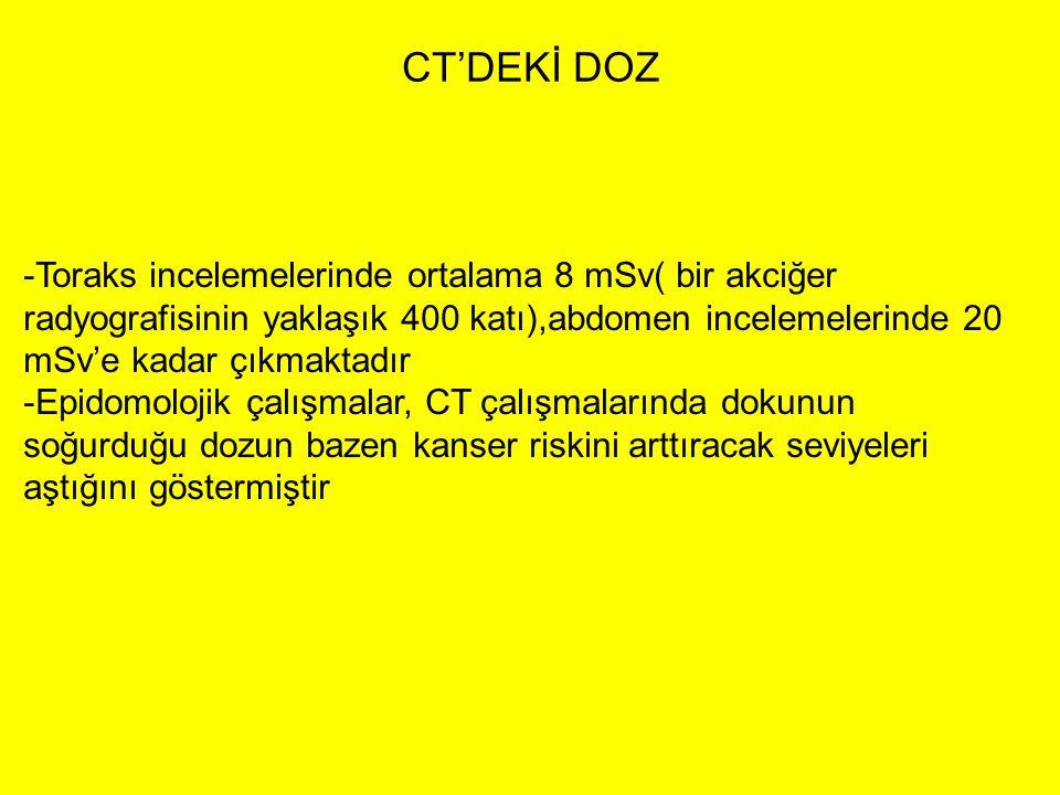 CT'DEKİ DOZ Toraks incelemelerinde ortalama 8 mSv( bir akciğer radyografisinin yaklaşık 400 katı),abdomen incelemelerinde 20 mSv'e kadar çıkmaktadır.