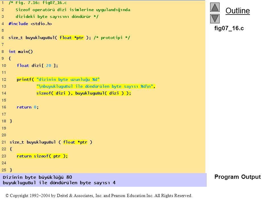 fig07_16.c Program Output Dizinin byte büyüklüğü 80