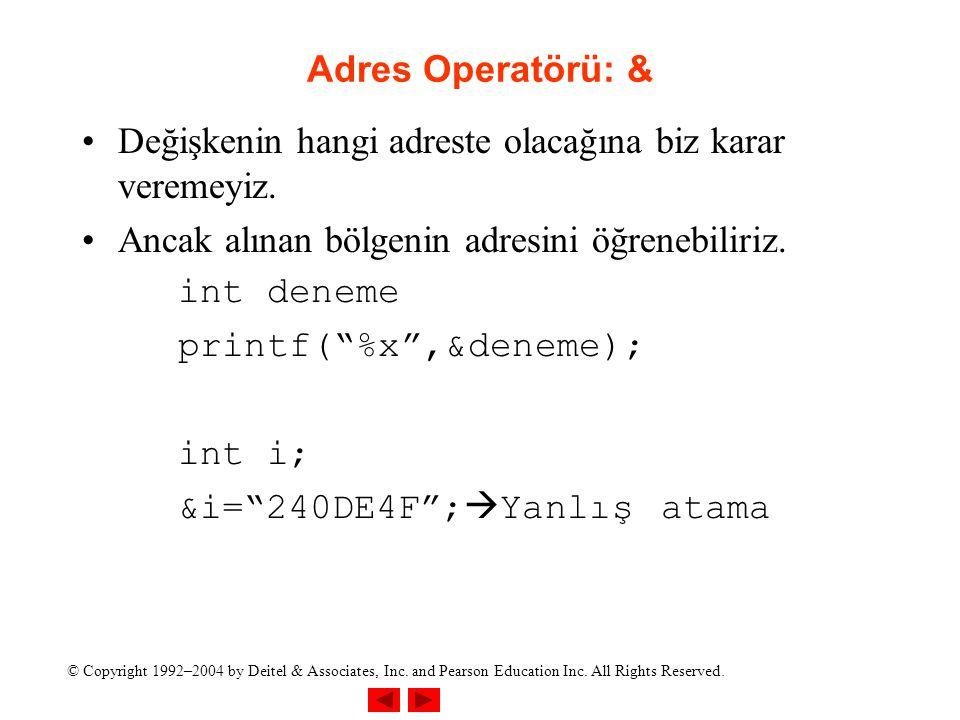 Adres Operatörü: & Değişkenin hangi adreste olacağına biz karar veremeyiz. Ancak alınan bölgenin adresini öğrenebiliriz.