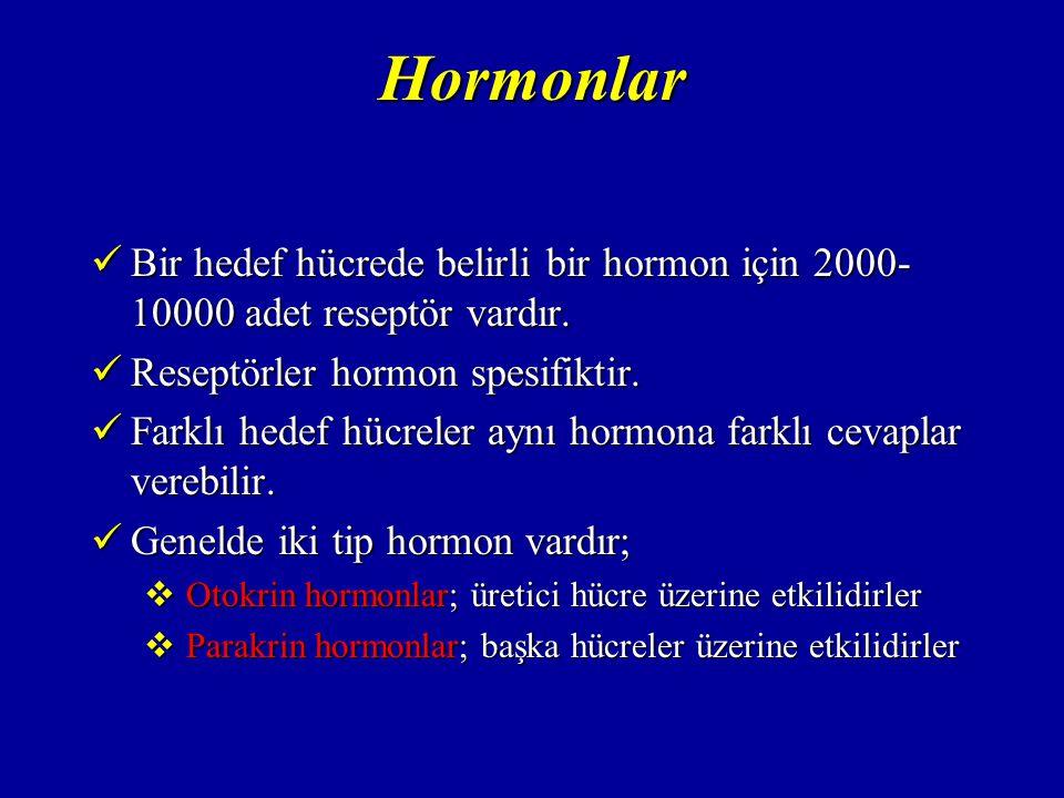 Hormonlar Bir hedef hücrede belirli bir hormon için 2000-10000 adet reseptör vardır. Reseptörler hormon spesifiktir.