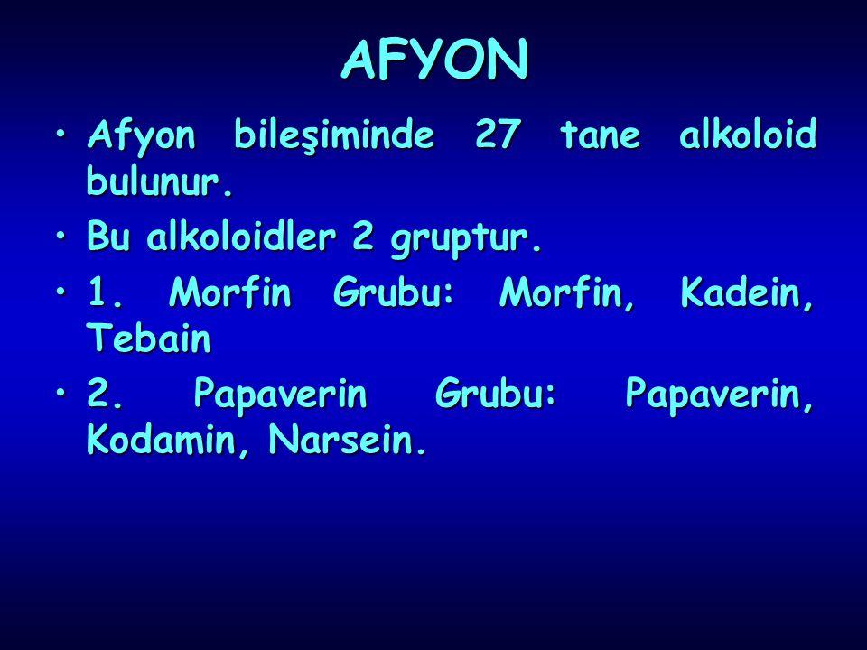 AFYON Afyon bileşiminde 27 tane alkoloid bulunur.