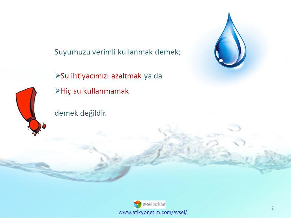 Suyumuzu verimli kullanmak demek; Su ihtiyacımızı azaltmak ya da