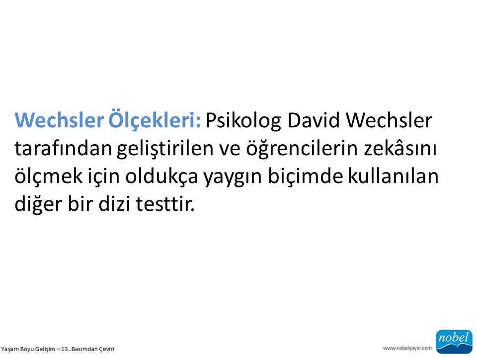 Wechsler Ölçekleri: Psikolog David Wechsler tarafından geliştirilen ve öğrencilerin zekâsını ölçmek için oldukça yaygın biçimde kullanılan diğer bir dizi testtir.