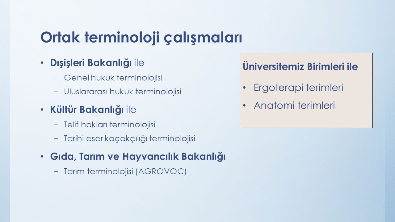Ortak terminoloji çalışmaları