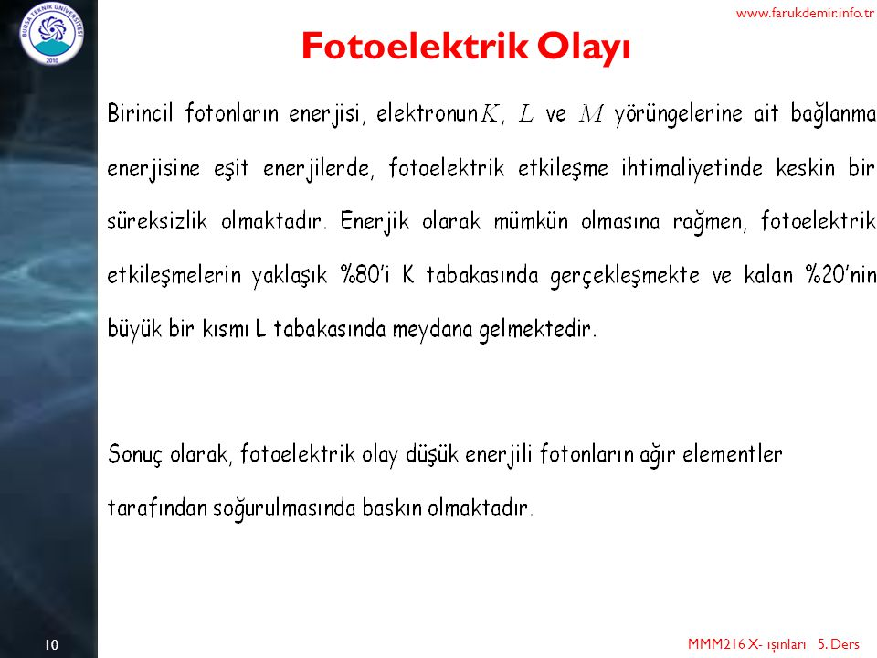 Fotoelektrik Olayı www.farukdemir.info.tr 10
