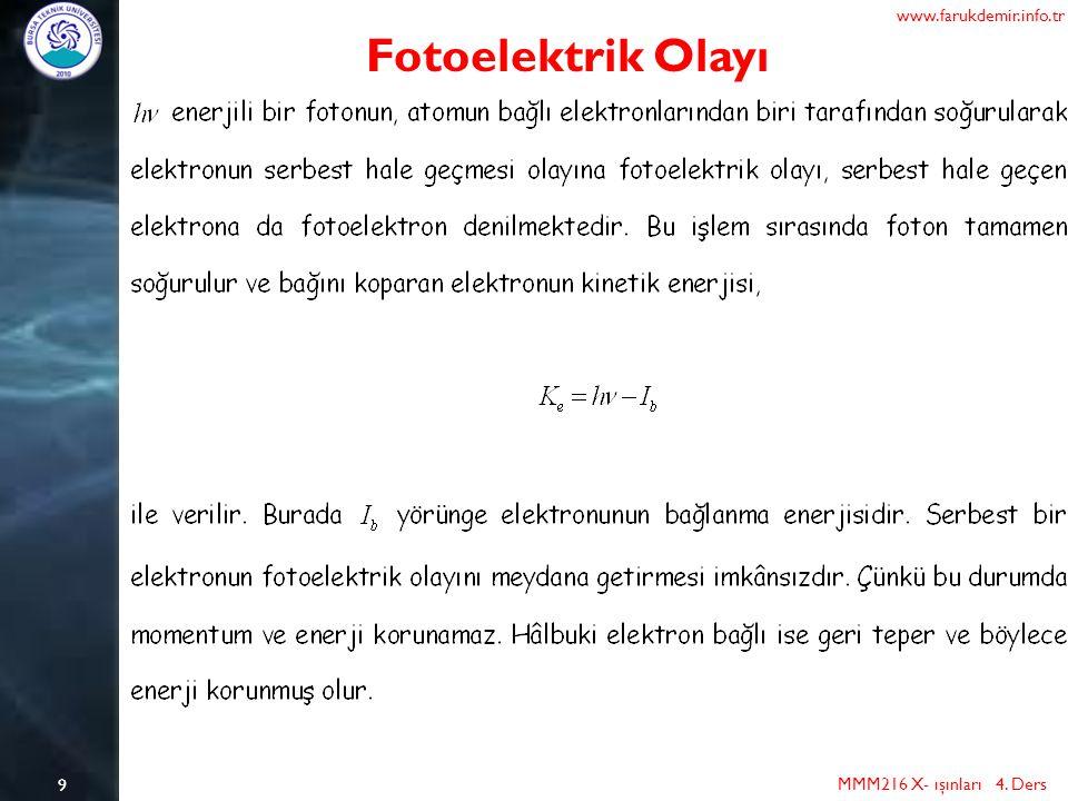 www.farukdemir.info.tr Fotoelektrik Olayı 9 MMM216 X- ışınları 4. Ders