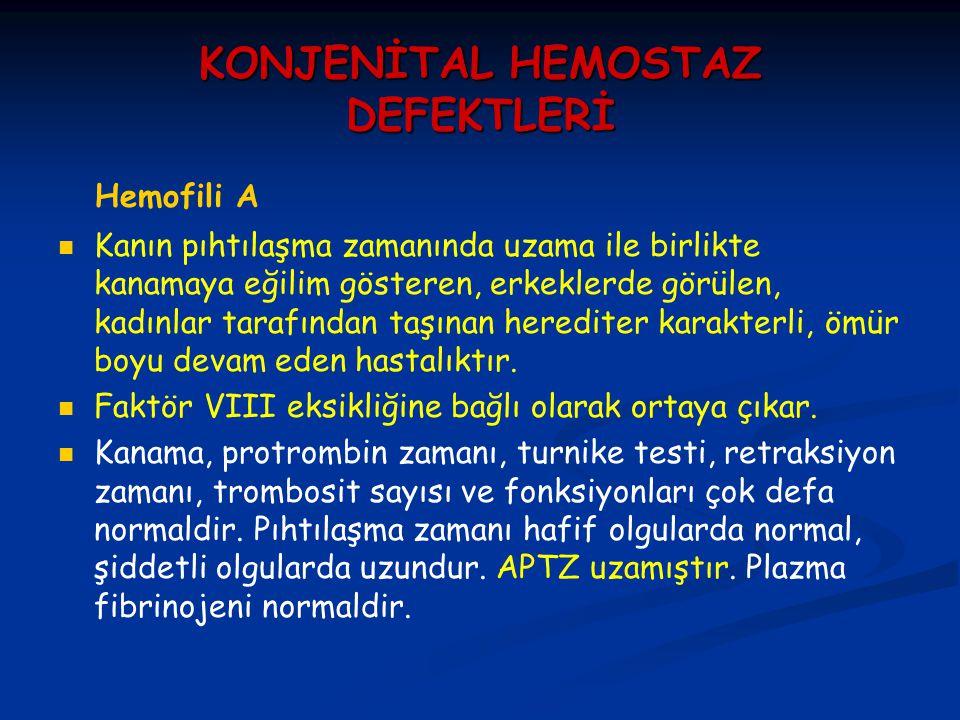 KONJENİTAL HEMOSTAZ DEFEKTLERİ