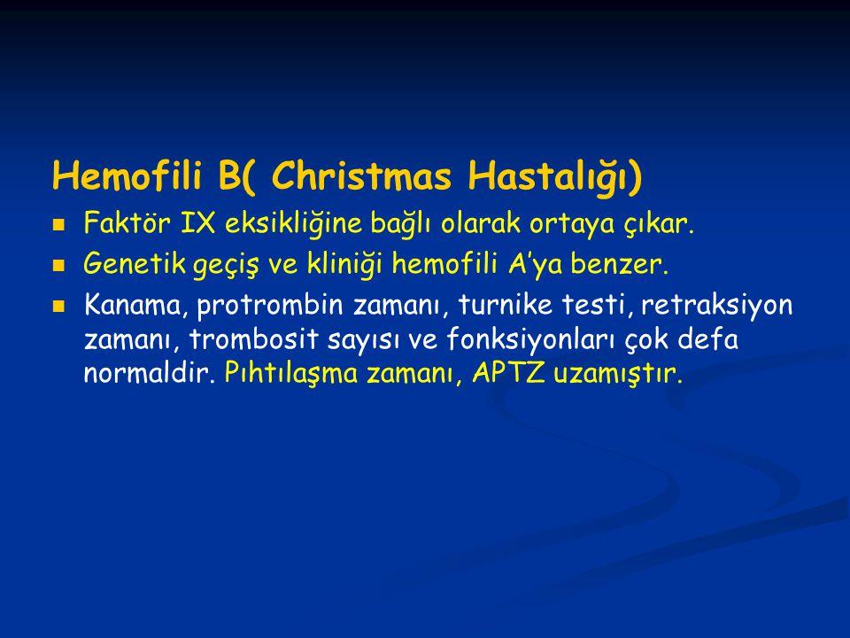 Hemofili B( Christmas Hastalığı)