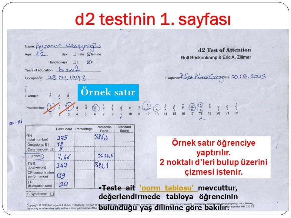 d2 testinin 1. sayfası Örnek satır Örnek satır öğrenciye yaptırılır.