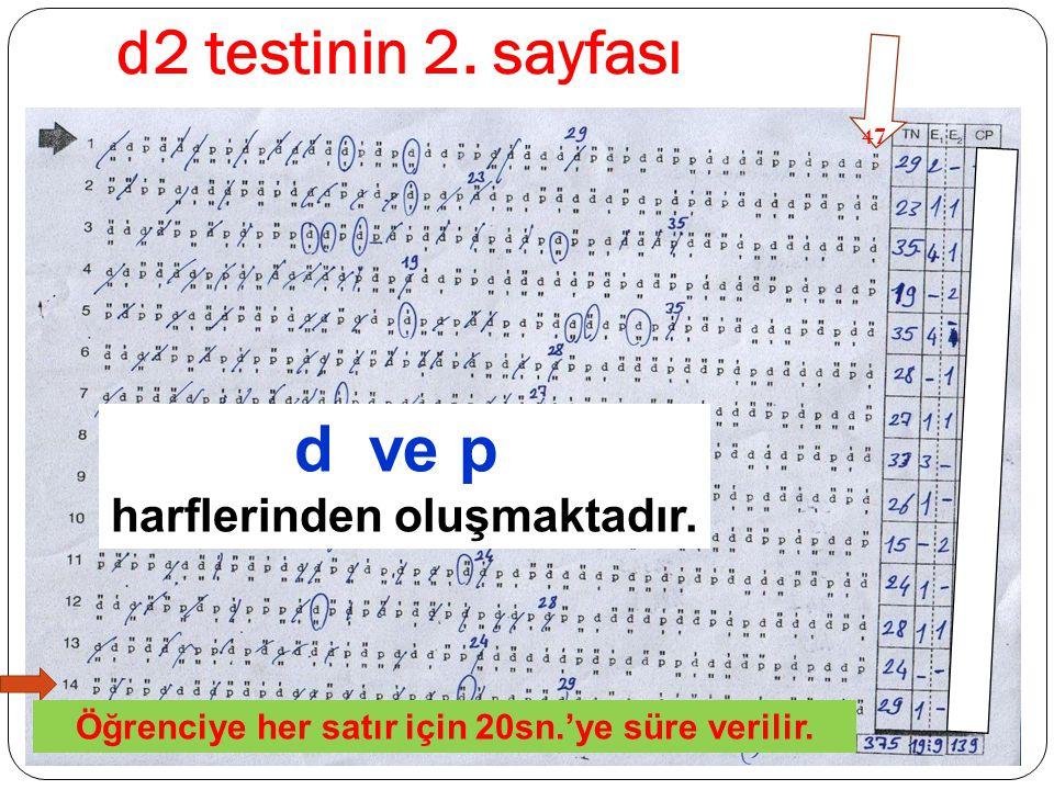 d2 testinin 2. sayfası d ve p harflerinden oluşmaktadır.