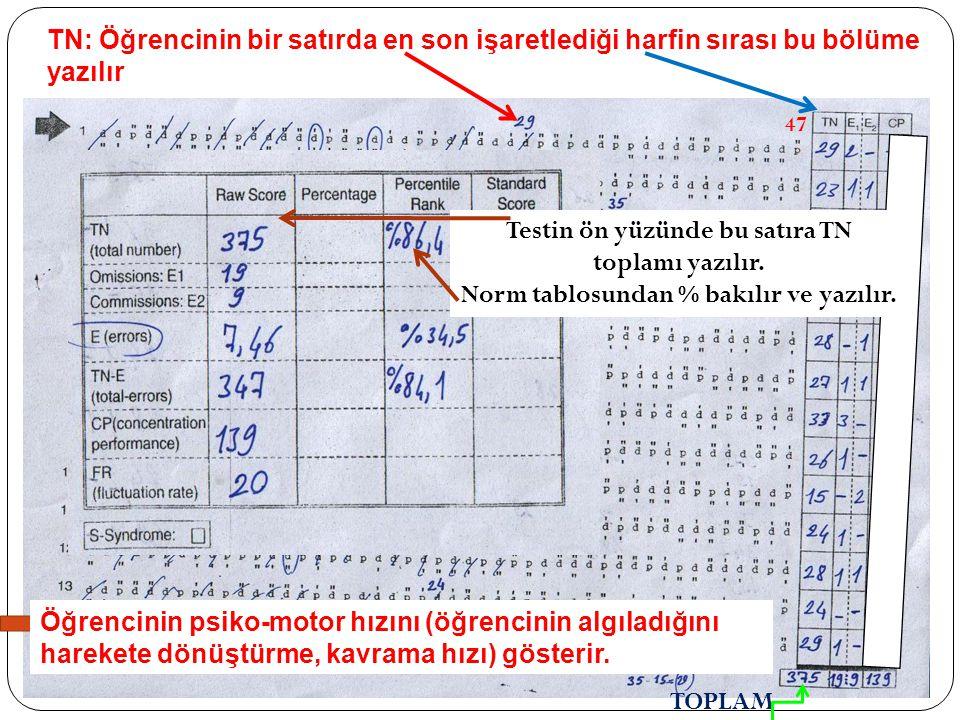 Testin ön yüzünde bu satıra TN toplamı yazılır.