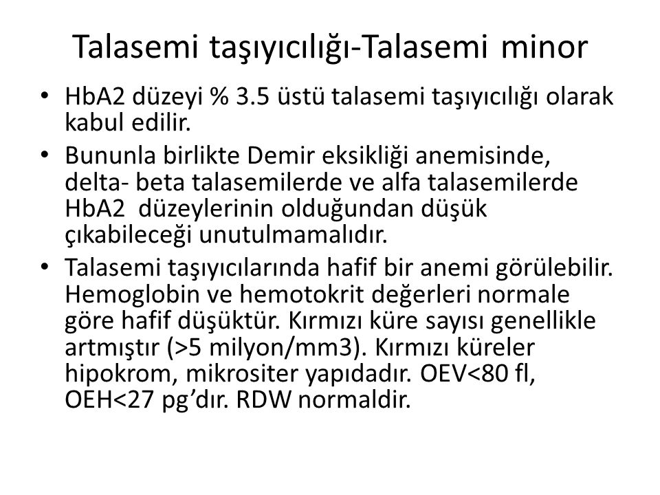 Talasemi taşıyıcılığı-Talasemi minor