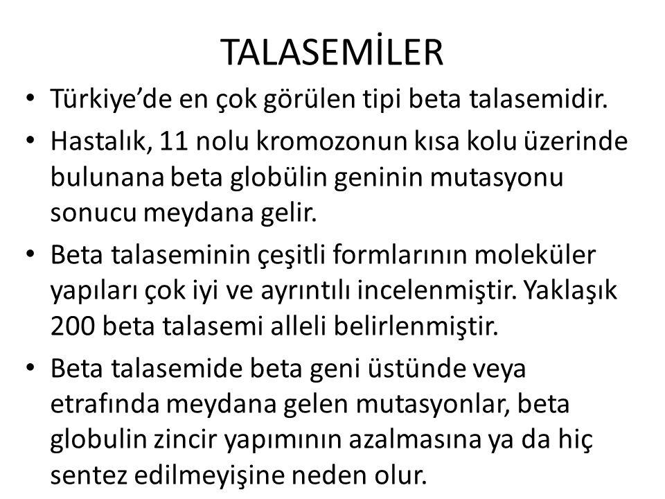 TALASEMİLER Türkiye'de en çok görülen tipi beta talasemidir.