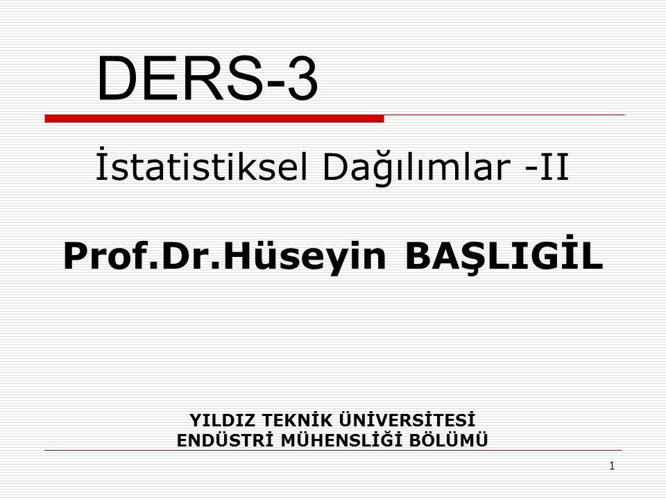 DERS-3 İstatistiksel Dağılımlar -II Prof.Dr.Hüseyin BAŞLIGİL