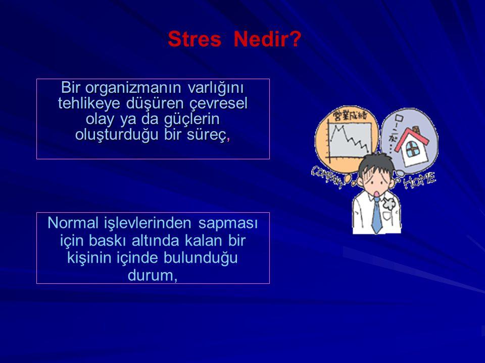 Stres Nedir Bir organizmanın varlığını tehlikeye düşüren çevresel olay ya da güçlerin oluşturduğu bir süreç,
