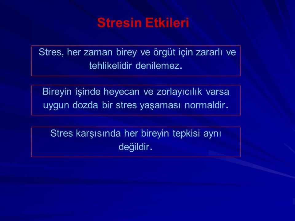 Stres karşısında her bireyin tepkisi aynı değildir.