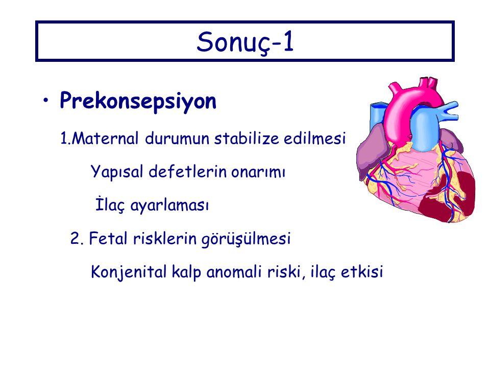 Sonuç-1 Prekonsepsiyon 1.Maternal durumun stabilize edilmesi